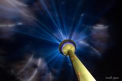 Lichterspektakel.. (cornelia_auguste) Tags: 44000 watt lichtstrahlen lichtsule lichtstimmung rheinturm lzb dsseldorf nrw fest skyline nachtaufnahme nacht
