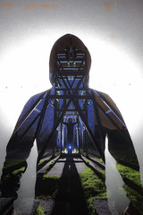 Industrial Revelation. (FadeToBlackLP) Tags: doubleexposure double incamera lensswap lenscaptrick tokina samyang 50mm 1116mm canon magpiemine longexposurephotography lightpainting lightart lightsandshadows man silhouette cold blue darkness backlit rim