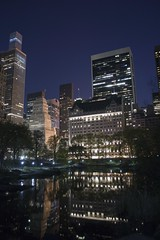 Plaza Hotel and the Central Park pond (RealMattKane) Tags: city nyc newyork night centralpark manhattan