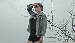 (Adrian de Icaza) Tags: trees sky black cold green girl beauty rain fashion fog silver mexico model nikon morelia cloudy branches gray makeup nikond50 muse explore rings human jacket stare reflective glimmer fragile tough blackshirt jewerly blackshorts militaryjacket mariegoyer adriandeicaza