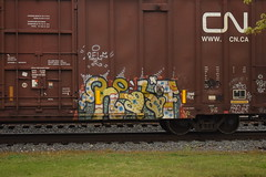 RELF (TheGraffitiHunters) Tags: street blue red white black art car yellow train graffiti colorful paint box gray tracks spray boxcar freight benched benching relf