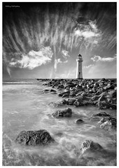 Perch Rock Lighthouse, Wirral, England (AKG37) Tags: lighthouse seascape monochrome rocks perchrock