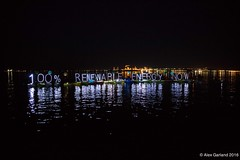 Large 100% renewable energy now OLB LED light panels raft up and refinery at Luminary flotilla at Break Free PNW 2016 photo by Alex Garland img_2100 (Backbone Campaign) Tags: water justice washington energy kayak break action politics protest creative paddle shell free social demonstration oil change wa environment activism anacortes campaign pnw refinery climatechange climate tesoro artful backbone renewable refineries 2016 kayaktivist kayaktivism breakfreepnw