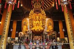 Shangahi, Longhua temple, Buddha statue (blauepics) Tags: china city building statue architecture temple gold golden shanghai buddha religion buddhism stadt architektur gebude tempel longhua buddhismus symmetries schanghai symmetrien