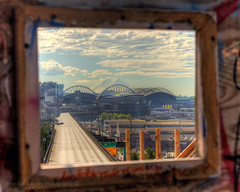 Framed for the memories. (Brendinni) Tags: seattle mountains window clouds buildings waterfront view pov framed viaduct rainier safecofield hdr alaskanwayviaduct seattlewa hwy99 centurylink