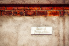 Reserved... (Daniela 59) Tags: sign wall concrete parking bricks reserved brickwork reservedparking jennysplace wallwednesday danielaruppel