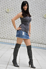 Chrissi 03 (The Booted Cat) Tags: sexy girl model legs boots jeans heels miniskirt overknee demin higheels