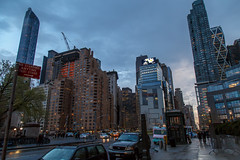 Middle of town, Manhattan (john.gillespie) Tags: new york nyc sunset ny newyork skyline night buildings circle evening twilight skyscrapers traffic manhattan colombuscircle colombus