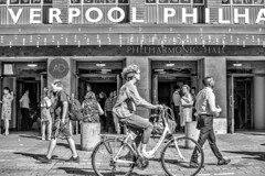 Orchestral Maneuvers (alun.disley@ntlworld.com) Tags: liverpoolphilharmonichall people peoplewatching liverpool streetscene mono blackandwhite art culture city urban bicycle transport buildings weather