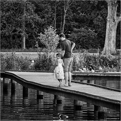 A walk in the park (John Riper) Tags: johnriper street photography straatfotografie rotterdam square bw black white zwartwit mono monochrome netherlands candid john riper canon 6d l people father daughter girl grass pier summer walk stroll kralingse bos watch 70200