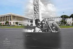 Audrey Hepburn e Mel Ferrer allEur - http://bit.ly/1JhTDzg (Roma Ieri Oggi) Tags: old rome roma foto audreyhepburn layers eur 1962 merge rephotography vecchie nuove sovrapposizione romaierioggi