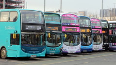 A selection parked up at LEEDS bus station (Barrytaxi) Tags: