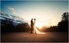 The Bride's veil! (untiedshoes1) Tags: wedding light sunset sky sun rooftop clouds groom bride nikon couple veil wideangle bluesky flare weddingceremony brideandgroom lumleycastle weddingphotographer weddingphotography d800e