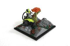 Scouting Mission on Illustria (jsnyder002) Tags: terrain tree mantis landscape model all lego alien quad vehicle 3wheeler moc rockwork