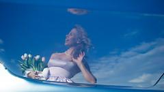 Blue Car Reflection (Ktoine) Tags: flowers blue portrait sky girl smile tulips posing saintpetersburg