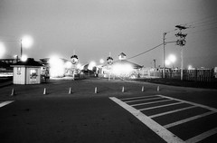 Playland (F. Neil S.) Tags: film beach night zeiss 35mm blackwhite negative amusementpark merrygoround contaxaria selfdev