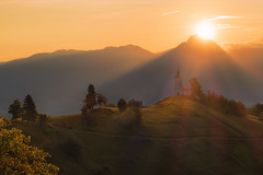 Perfect start of a day (Dejan Hudoletnjak) Tags: mountains church sunrise landscape colorful warm hill sunny slovenia sunrays sunnyday jamnik churchonahill