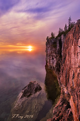 Sunrise over Escarpment Cliff in Georgian Bay (Fengpeng2014) Tags: trees mist lake reflection clouds bruce ngc peninsula escarpment