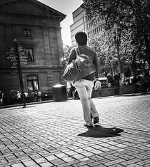Crossing The Square (TMimages PDX) Tags: road street city people urban blackandwhite monochrome buildings portland geotagged photography photo image streetphotography streetscene sidewalk photograph pedestrians pacificnorthwest avenue vignette fineartphotography iphoneography
