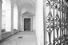 Pažaislis Monastery (Vygintas R.) Tags: bw film church architecture iso200 bokeh rangefinder monastery 35mmfilm 2009 lithuania springtime kaunas lietuva bessar2a nikoncoolscan5000 fujineopanss juosta pazaislismonastery pažaislismonastery pažaisliovienuolynas 0023n09