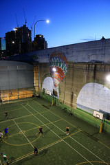 Baskets (Paul Threlfall) Tags: hotairballoon mural grafitti sydney sydneyharbourbridge bluehour twilight city lights basketball photographer sport nsw newsouthwales silhouette football soccer