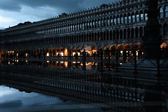 Venice Reflections at Dusk (Crumblin Down) Tags: pink venice shadow italy color colour tower church water rain st statue night square puddle photography boat canal photo san colorful italia bell dusk mark cancer picture carving marks reflect marco gondola colourful murano venezia leaning gondolier burano selfie ferro campanille vogalonga basilcia forcula