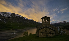 Infinity (Perez Alonso Photography) Tags: sky lake snow france mountains alps church grass night clouds stars landscapes waterfall nightscape lac universe nightscapes frenchalps roselend