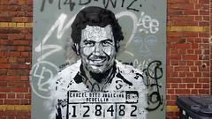 Pablo Escobar (ezbai) Tags: brussels portrait streetart streets graffiti stencil colombia retrato pablo montserrat rue stencilart medellin escobar visage pabloescobar pochoir plantilla narcos ezbai