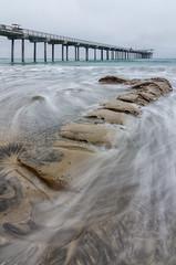 La Jolla Pier (JBMarro) Tags: ocean california seascape beach landscape la pier waves slow pacific silk shutter jolla rcoks