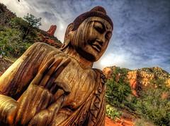 Buddha (KnightedAirs) Tags: arizona mountain rock digital canon garden photography photo buddha sedona grand tibet powershot tibetan spiritual buddism epic hdr formations s100