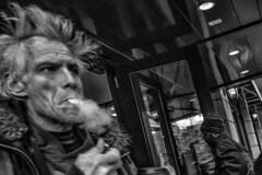 Walnut and Broad Streets, 2016 (Alan Barr) Tags: street people blackandwhite bw philadelphia monochrome lumix mono blackwhite cigarette candid smoke streetphotography panasonic sp streetphoto broadstreet walnutstreet 2016 gx8