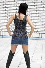 Chrissi 08 (The Booted Cat) Tags: sexy girl model legs boots jeans heels miniskirt overknee demin higheels