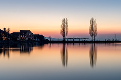 Duet (Mopple Labalaine) Tags: trees lake reflection wet schweiz switzerland evening pier bodensee constance lakeconstance thurgau ermatingen