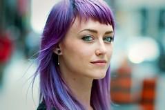 Lisa. (Daifuku Sensei) Tags: portrait toronto girl beautiful smile face lady downtown bokeh strangers lisa windy stranger greeneyes adelaide yonge purplehair nikon85mmf18 nikond300