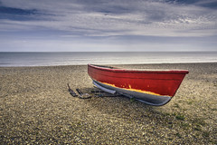 Beached (Osgoldcross Photography) Tags: dunwich rowingboat fishing shingle water horizon beach suffolk red oars nikon nikond810 raw landscape seascape