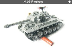 M26 Pershing (WW2 Creations) Tags: world 2 two usa wheel soldier army star us log war gun track tank lego suspension 26 tracks machine m mg vehicles wheeled ww2 vehicle guns ww fighting armored pershing tanks wot compared tracked m26 brickarms