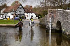 Day #3022 (cazphoto.co.uk) Tags: bridge horses reflection ford wet water river lumix kent panasonic riding eynsford project366 090416 dmcgh3 panasonic1235mmf28lumixgxvarioasphpowerois beyond2922 2016th40