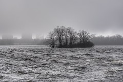 Fog in the city. (beyondhue) Tags: sky cloud tree monochrome rain weather fog river landscape flow island spring ottawa horizon gray foggy wave pastures visibility tunneys beyondhue