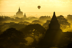 Scenic sunrise at bagan myanmar (Mr.Farm) Tags: old travel light sunset red summer vacation sky orange sun holiday hot color art heritage tourism beautiful field silhouette architecture sunrise landscape temple golden pagoda ancient asia outdoor buddha background burma stupa air religion balloon over culture buddhism myanmar bagan