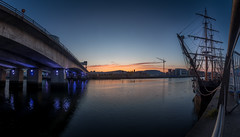 Sunset at Maritime Festival Belfast (Glen Sumner Photography) Tags: bridge blue sunset sea panorama color colour wet water ship cityscape harbour yacht belfast sail northernireland titanic tallships hdr sailingship maritimefestival