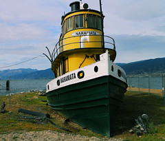 Beached (tonywild241) Tags: park lake canada heritage history beach water museum landscape boat marine ship village outdoor britishcolumbia perspective vessel lakeside tugboat townscape historicsite greatphotographers okanaganbc