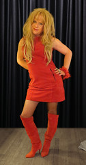 This dress smells soooo gooood..... (Irene Nyman) Tags: blue red dutch leather monster eyes dress boots over tranny blonde transvestite irene knee crossdress suede travestie nyman xdress