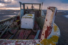 old boat (Star*sailor) Tags: old sunset sea sky clouds boat sand tide low wirral