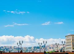 Napoli (miemo) Tags: travel bridge sky italy skyline clouds buildings spring europe campania olympus napoli naples omd lampposts olympus45mmf18 em5mkii