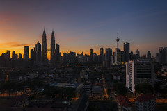 Beautiful sunrise over in Kuala Lumpur (zakies) Tags: kualalumpur klcc panoramic panorama cityscape citycenter petronas twin tower sunset sunrise horizontal morning capital city putrajaya malaysia building zakiesphotography mohdzakishamsudin arieal silhouette shopping travel holiday skyline singleexposure