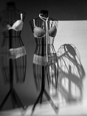For the Ladies (Anne Worner) Tags: shadow blackandwhite bw stilllife white black blur monochrome panties lensbaby contrast mono necklace shoes shadows display bend lace bra highcontrast pearls bodyform shadowplay bendy displaywindow pearlnecklace undergarments displaymodel displaymannequin mannequinform sweet35 anneworner wirebodyform