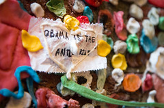 Obama is the Antichrist (Mr Moss) Tags: usa america seattle gum chewinggum wall pipe bubblegum streetart obama