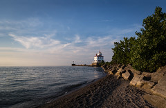 Fairport Harbor Lighthouse (Dale Kincaid) Tags: light ohio sky lighthouse lake west beach water stone harbor rocks great lakes scenic structure headlands erie beacon mentor breakwall breakwater fairport