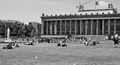Berlin-Lustgarden (Fuhirees {back trying to catch up}) Tags: ef50mmf14usm manual berlin germany lustgarten building people fountain blackandwhite monochrome street summer 2016