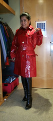 Red Burberry Mac (johnerly03) Tags: red black hair asian shiny long boots philippines trench heel filipina knee length raincoat pvc burberry erly hihj